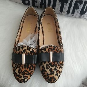 Leopard and Black Flats--Brand New